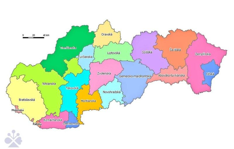 Župné zriadenie mapa Uhorska na území Slovenska po r. 1884. Kresba Dagmar Kusendová