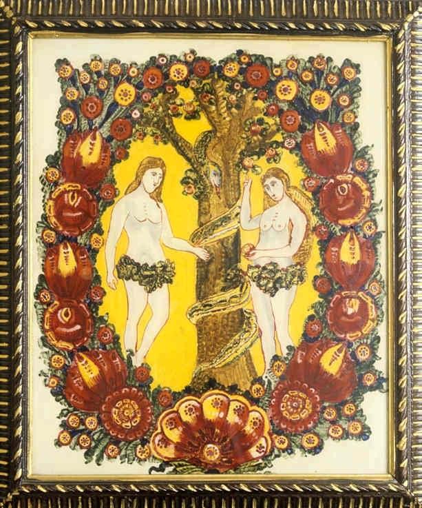 Adam a Eva.. Obraz maľovaný na skle. Autor Alexander Salzmann. Pata (okr.Galanta), 1. polovica 20. storočia. Etnografické múzeum v Martine. Foto H. Bakaljarová